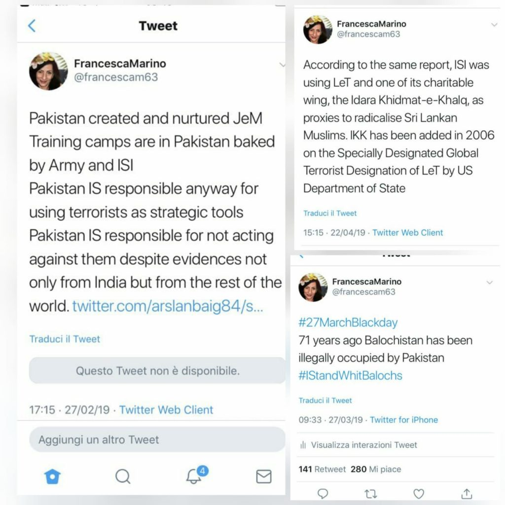 Few more tweets from French Journalist Francesca Marino's on Twitter allegedly violating Pakistan Law