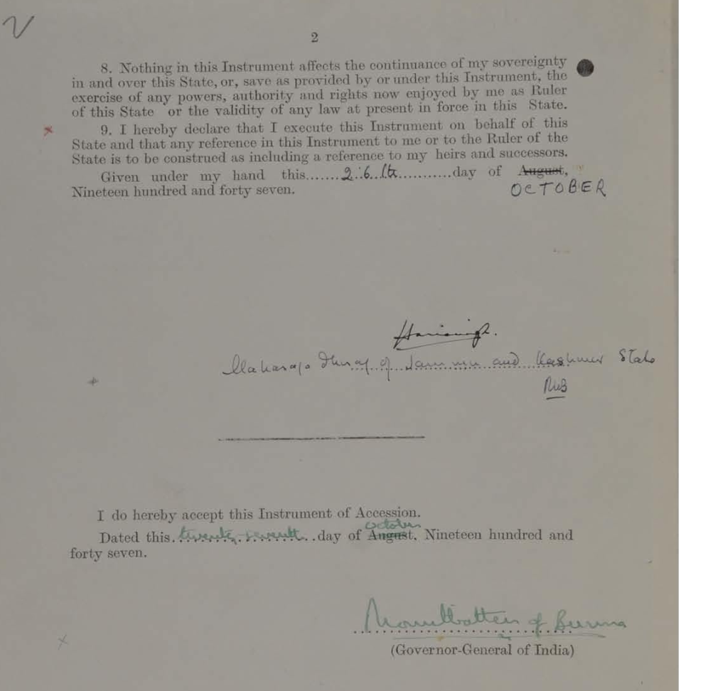 Instrument of Accession of Jammu and Kashmir State signed on 27-October 1947- Page 2