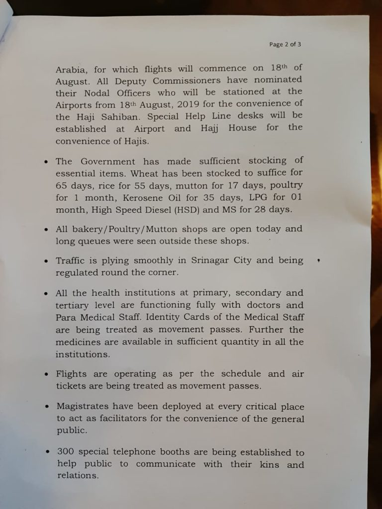 Measures being taken by Civil Administration -2