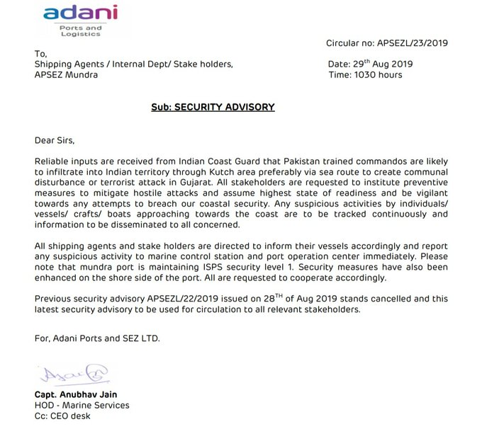 Pakistan Jihad Terrorist Factories getting ready to launch Terrorist attacks on India. Adani Group issued a Security Advisory