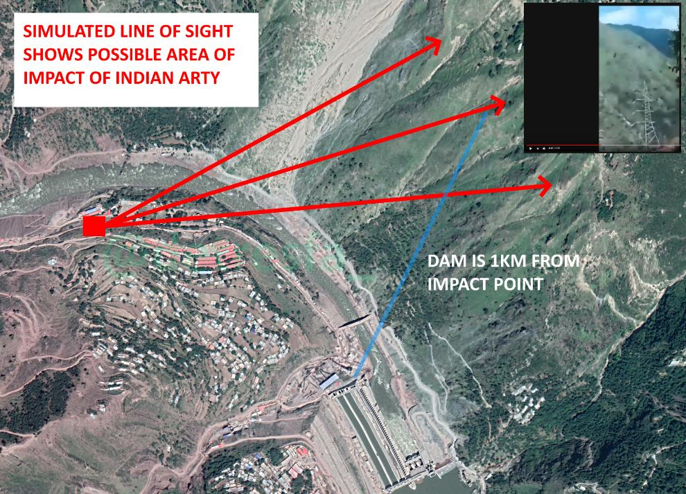 Satellite Image showing the simulated line of sight showing possible area of Impact of Indian Artillery