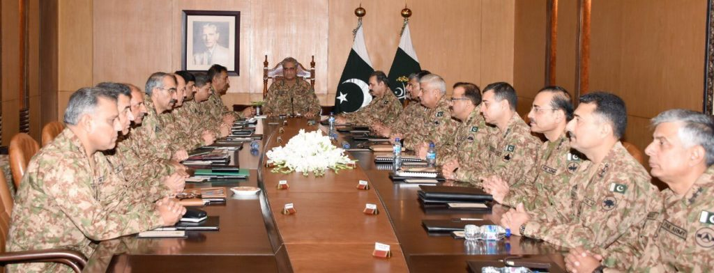 Corps Commander meeting was held at GHQ Pakistan, held in response to India abrogating Article 370 Indian Constitution.