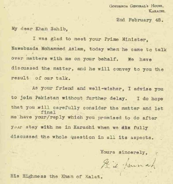 Letter from Jinnah to Khan of Kalat