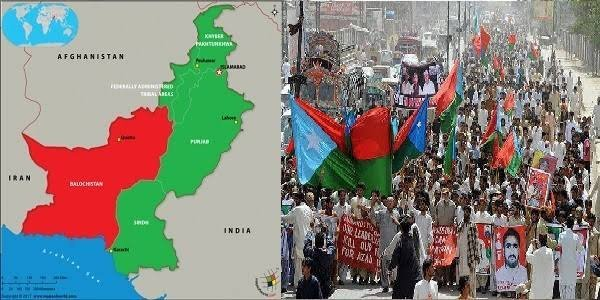 Procession in Balochistan. People carrying Flags of Baloch Nation