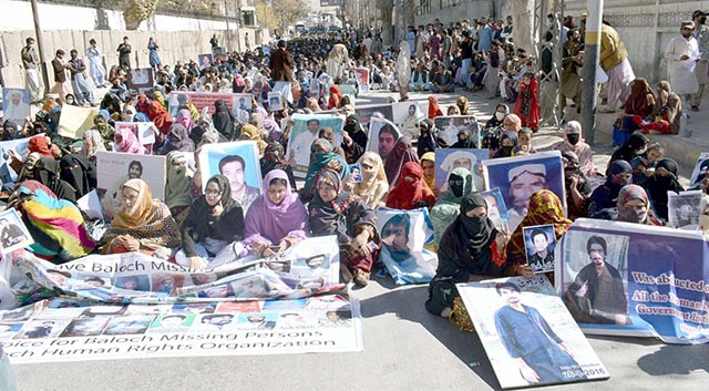 People Protesting against Pakistan Army Human Rights Abuses in Balochistan