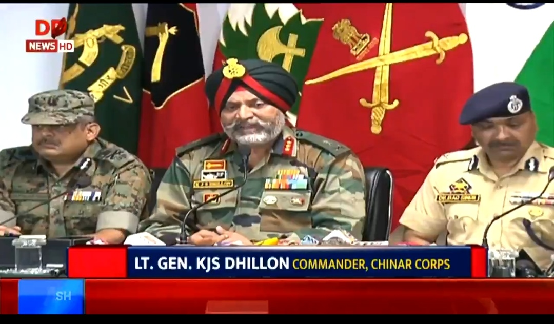 Chinar Corps Commander Lt. Gen. KJS Dhillon speaking to the media persons