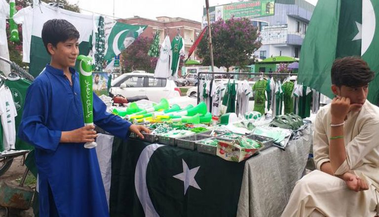 Unknown gunmen opened fire on a Pakistani flag-seller stall.