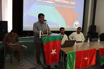 Dr Naseem Baloch speaking at the Balochitan Independence Day Conference