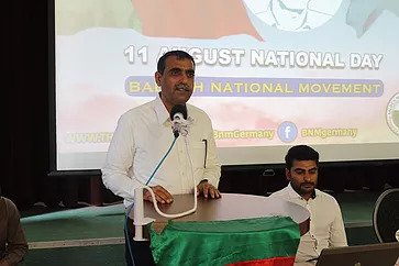 Haji Naseer Baloch of BNM speaking at the Conference on Balochistan Independence Day