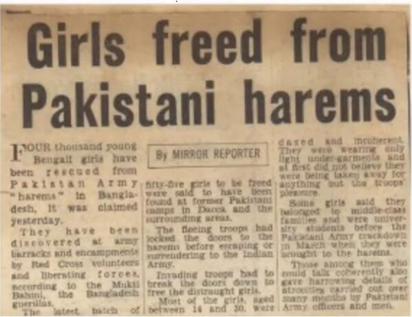"""Rapistan Synonym for Pakistan: 4000 young Bengali girls rescued from Pakistan Army """"Harems"""" in Bangladesh"""