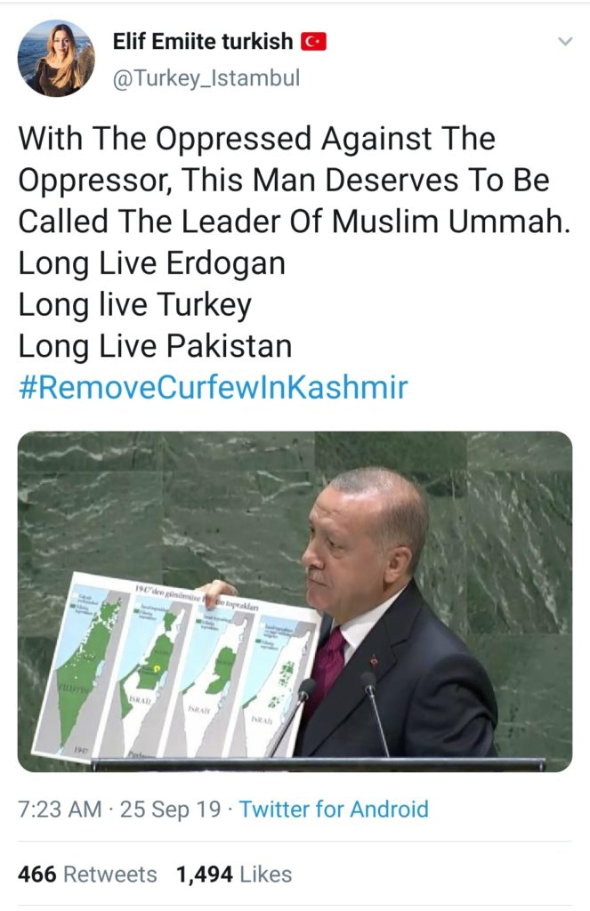 Turkey Twitter users portraying Turkey's President Erdogan as Leader of Muslim Ummah in a failed attempt
