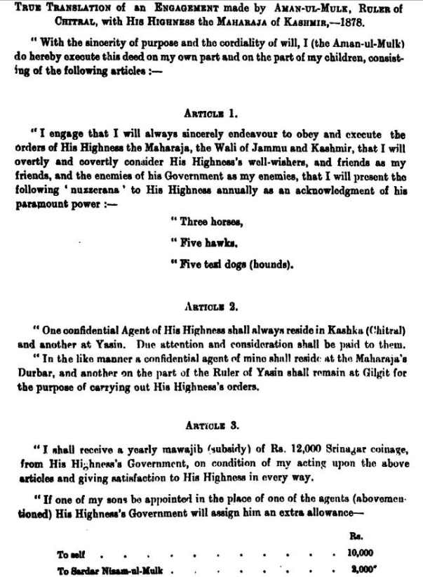 True Translation of Engagement made by Aman-Ul-Mulk, Ruler of Chitral, with Maharaja of Kashmir - 1878: Jammu and Kashmir Includes Chitral and Parts of Kohistan that may now become part of Union Territory of Ladakh, India