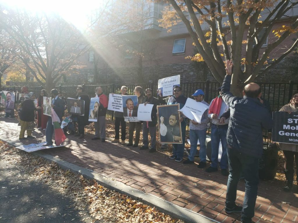 Protests in Washington DC outside Pakistan Embassy by Pakistani Ethnic groups against 26/11 Terrorist Attacks in Mumbai, India