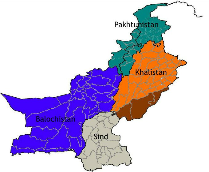 New Map of the present day Pakistan reflecting Khalistan as a separate Nation carved out of Present day Punjab Province of Pakistan