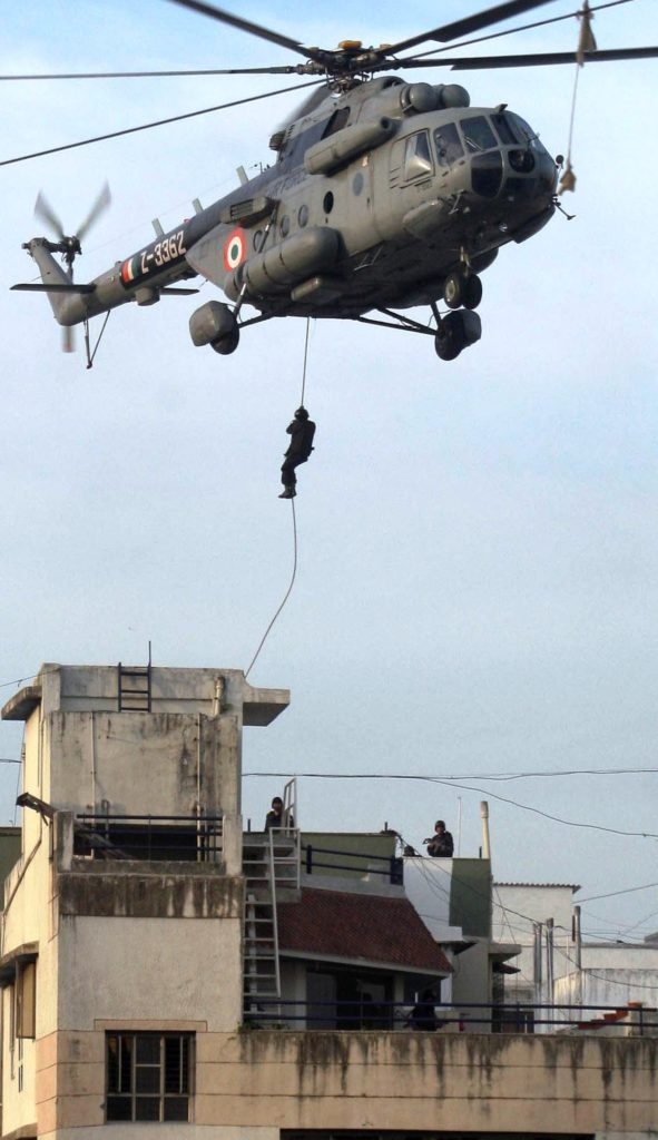 House was stormed by NSG commandos fast-roping from helicopters onto the roof, covered by snipers positioned in nearby buildings.