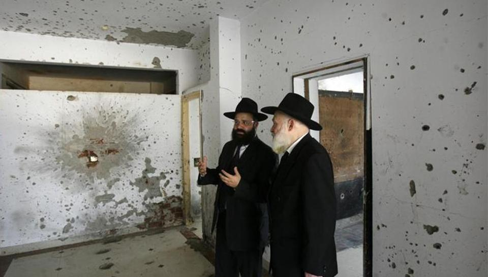 Aftermath of the house where Jews were held hostage by Pakistani Terrorists