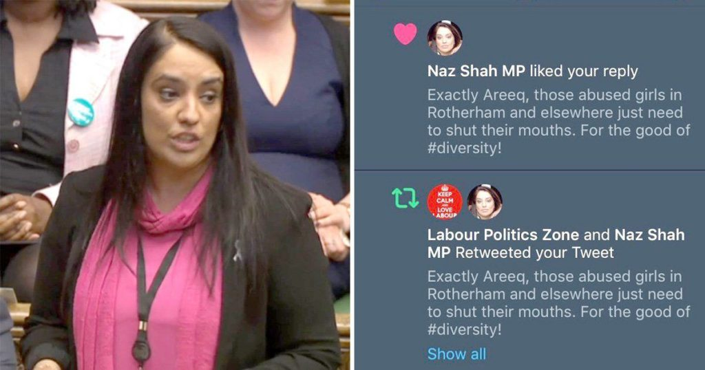Picture of the Pakistani Origin UK MP Naz Shah retweeted and liked controversial Tweet.