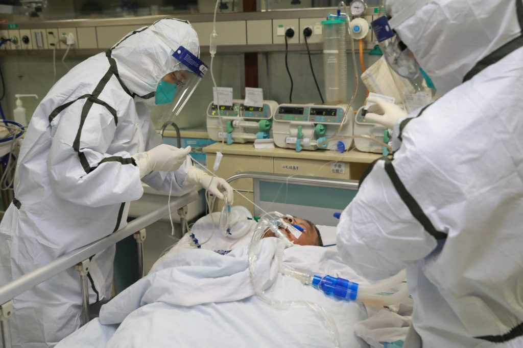 Corona Virus Outbreak: Doctors treating a patient infected from Corona Virus