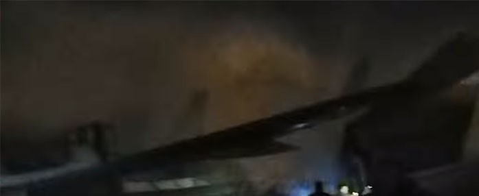 Remains of the burnt Civil Aviation Plane that was set on fire by Freedom Fighters in Karachi
