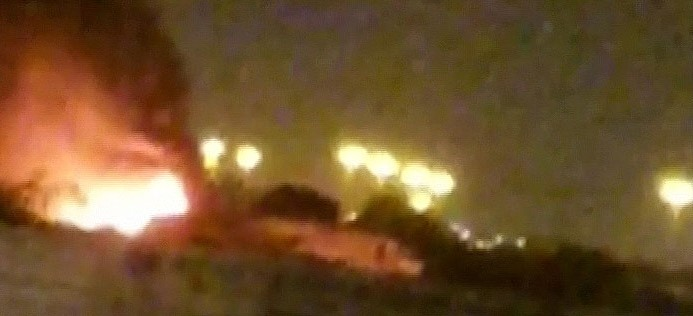 Burning Civil Aviation Plane that was set on fire by Freedom Fighters in Karachi