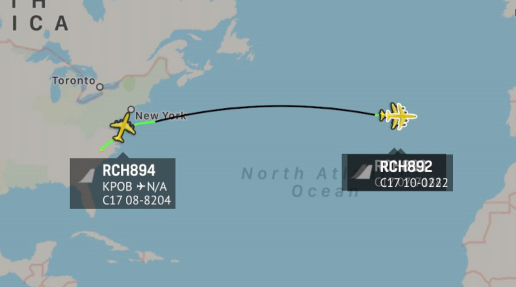 Three C-17's from Fort Bragg were sent over the Atlantic heading for the Middle East with US Paratroopers aboard: Radar Image
