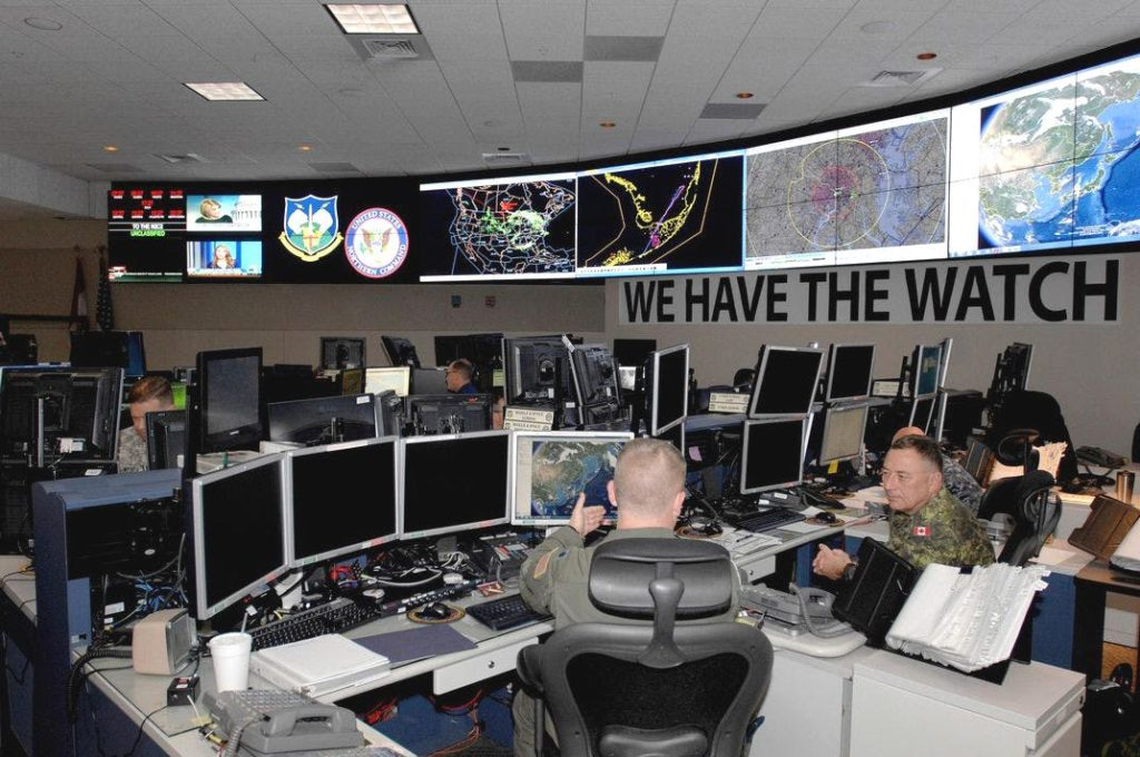 """A view inside NORAD's primary command center at Peterson Air Force Base. NORAD's motto is """"We Have The Watch."""""""