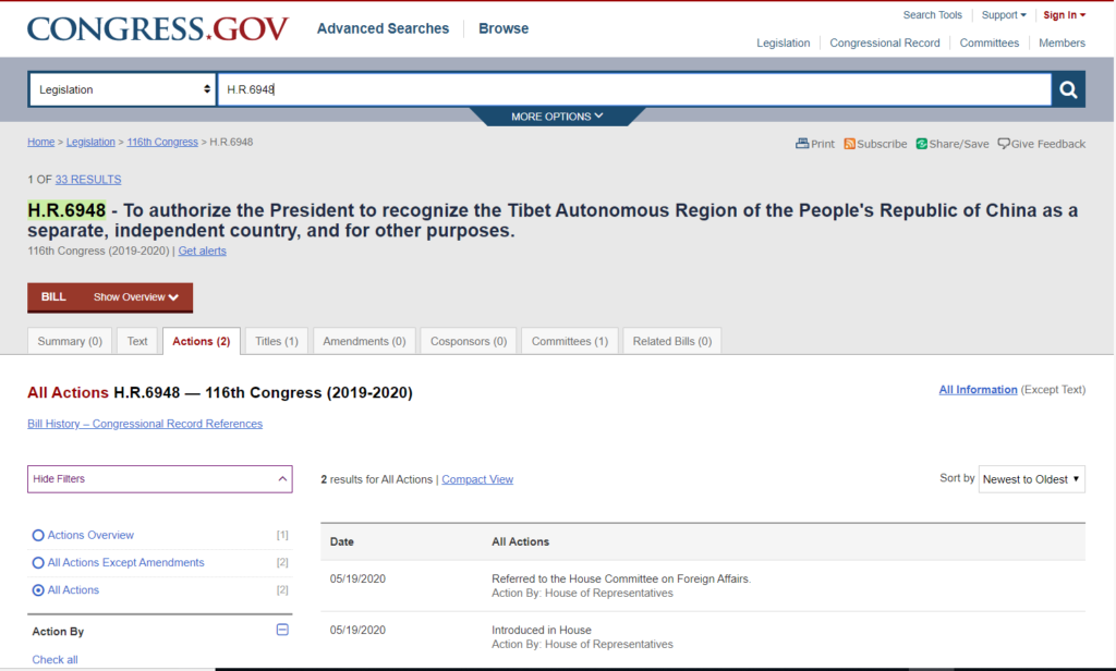 Screenshot of the website congress.gov showing the Bill H.R. 6948