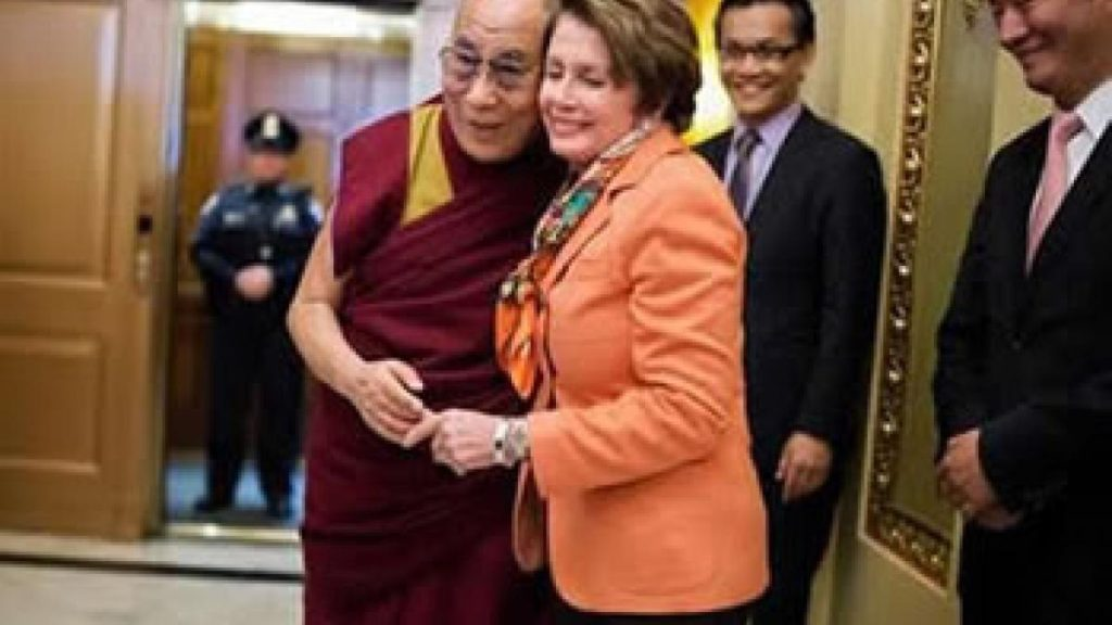 Image of HH Dalai Lama with Democrat Nancy Pelosi as posted on her web page