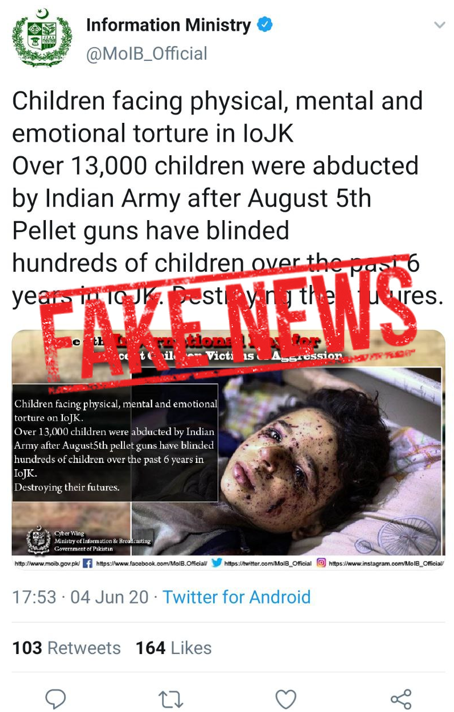 Shameless Pakistan Information Ministry again Posts Fake News on India