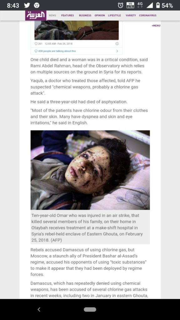 Screenshot of the article titled Syrian child, 3, dies after suffocating in Eastern Ghouta 'chlorine attack' that was published on Monday 26 February 2018 in alarabiya.net that has this picture of a 10 year old Omar
