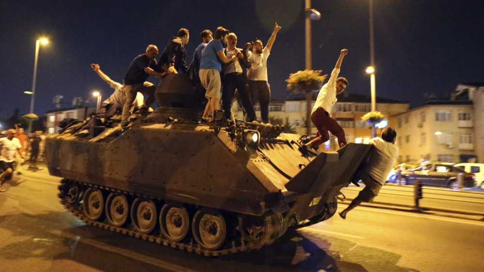 Failed attempt by Turkey forces to dislodge Erdogan in a coup said to be orchestrated by Erdogan himself to finish off his opposition.