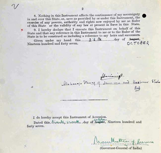Instrument of Accession - Page 2 Signed by Maharaja Hari Singh