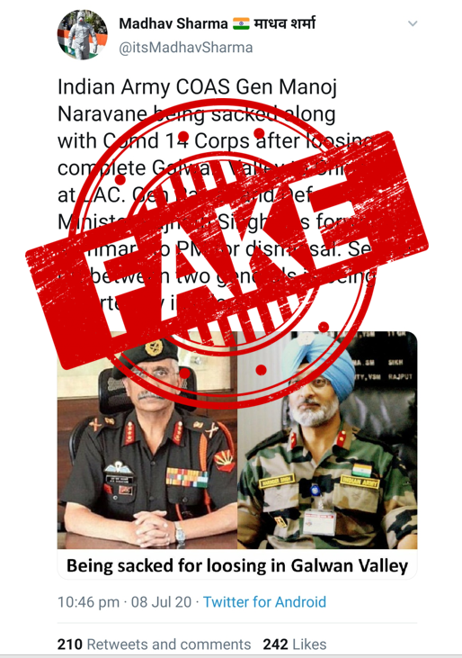 After Expose of 3 Pakistan Army Generals and 60 Pakistan Army Officers Dismissed, Desperate Pakistan Gets to Spread Fake News Against India