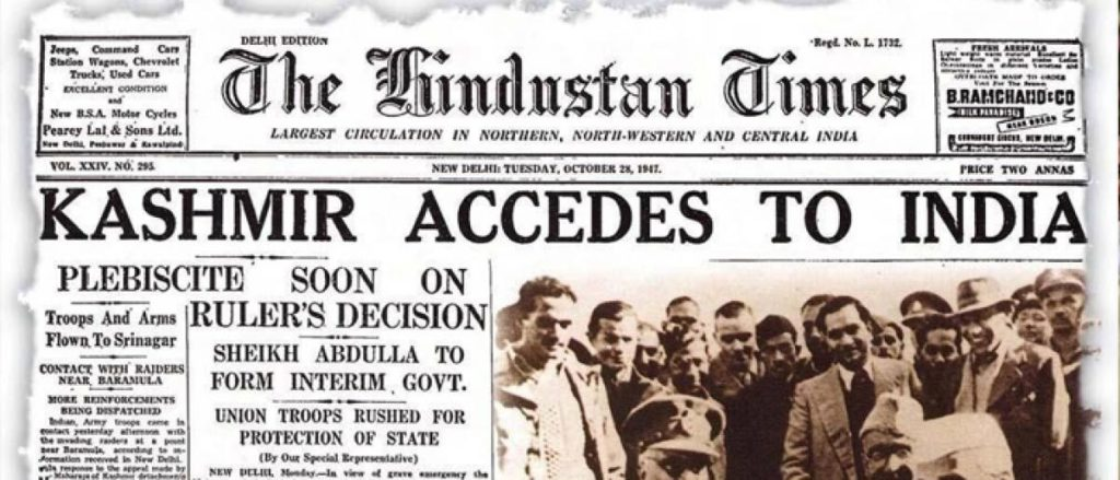 "News Paper clipping: ""Kashmir Accedes to India"""