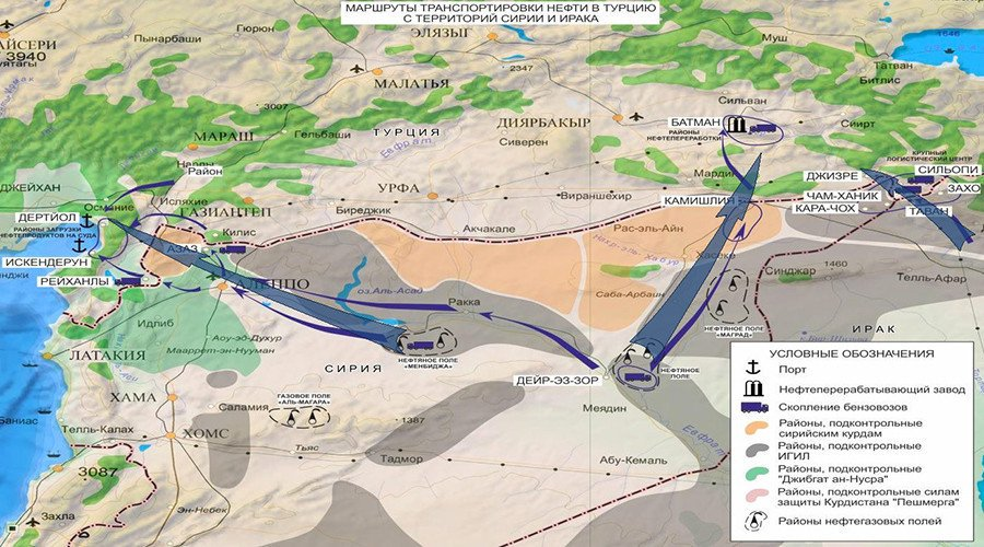 Images released by Russia in 2015 showing Oil smuggling routes from ISIS to Turkey.