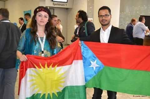 Protesters with Kurdistan and Balochistan Flags protesting against Turkey and Pakistan at UNGA