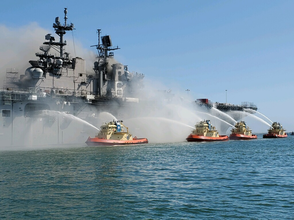 USS Bonhomme Richard On Fire: Fire Fighters trying to extinguish the fire