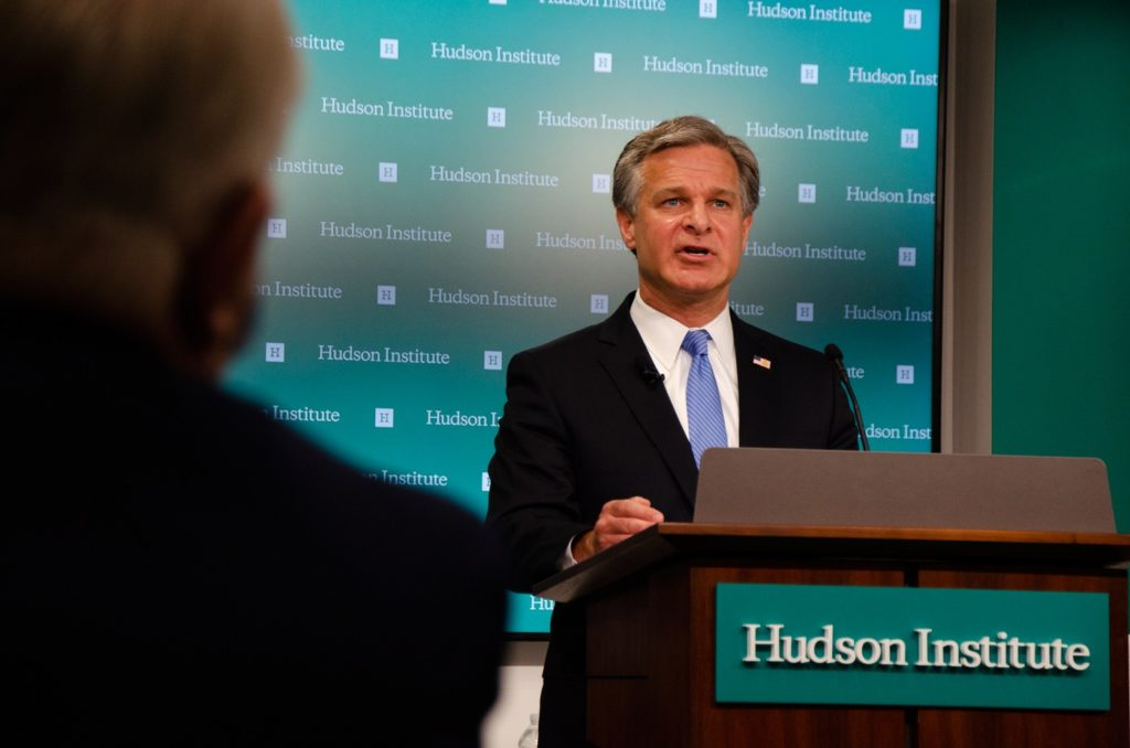 FBI Director Christopher Wray discusses the threat posed by the Chinese Government and the Chinese Communist Party to the economic and national Security of U.S. during a July 7, 2020 video event at the Hudson Institute in Washington, D.C.