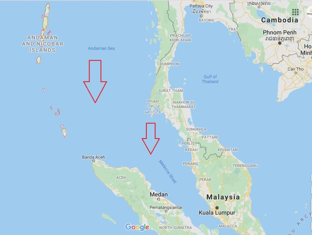 Map of Southern Asia showing Malacca Strait