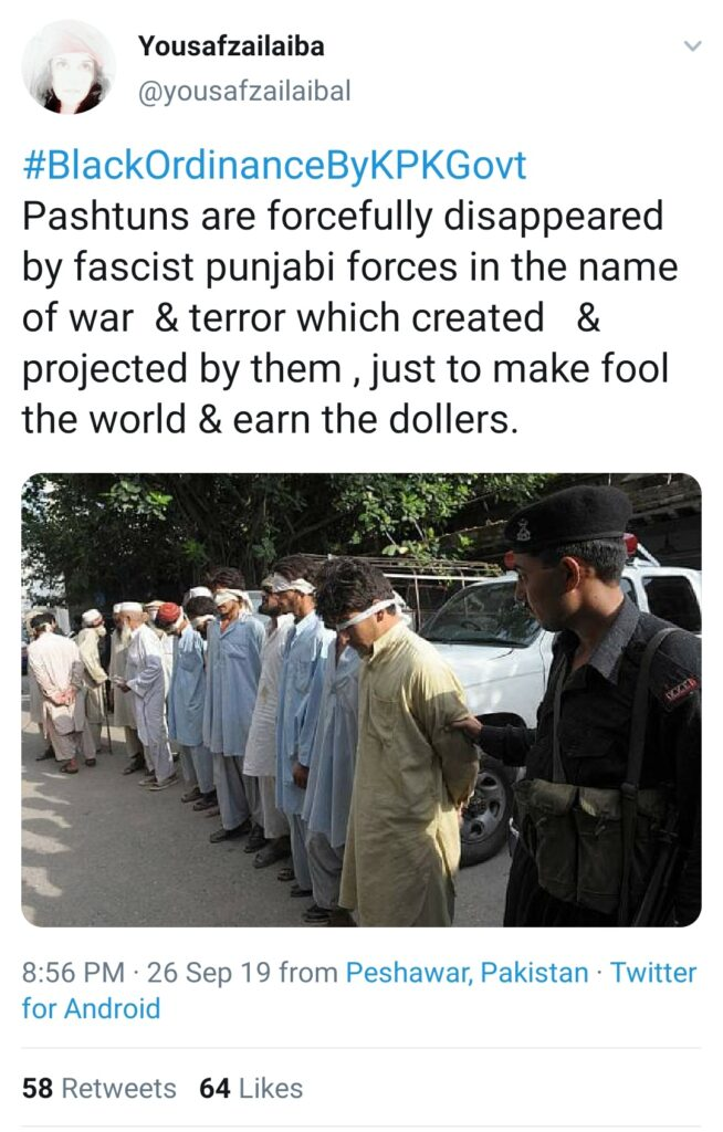 Pakistan Murderer of Muslims: Hypocrisy and Duplicity of Pakistan Exposed: A tweet by a Pashtun