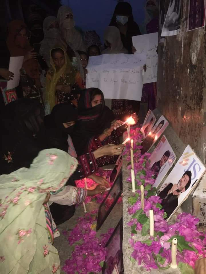 A silent candle march was arranged in Shaheed Fida Chowk, Turbat Kech for the justice for Hayat Baloch.