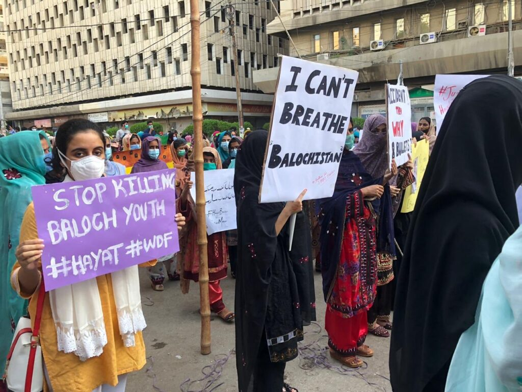 Anger in Pakistan Occupied Balochistan after cold blooded Extra Judicial Killing of Hayat Baloch : Members of WDF Sindh protesting in Karachi and Hyderabad against the unjust killing of Hayat Baloch