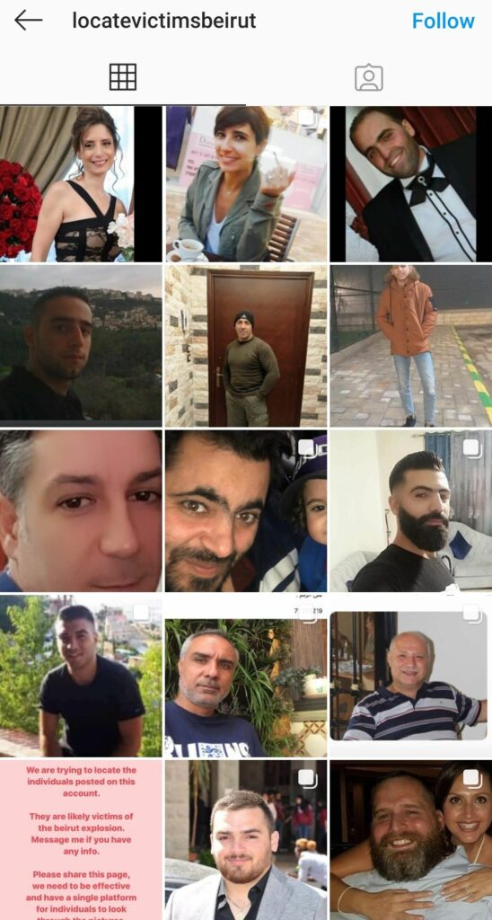 Some Missing persons after the huge blast in Beirut, Lebanon