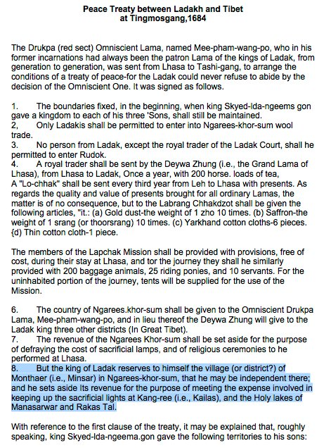 India Claims Over Kailash-Manasarovar And Parts of China-Occupied Tibet : Peace Treaty between Ladakh and Tibet at Tingmosgang, 1684.