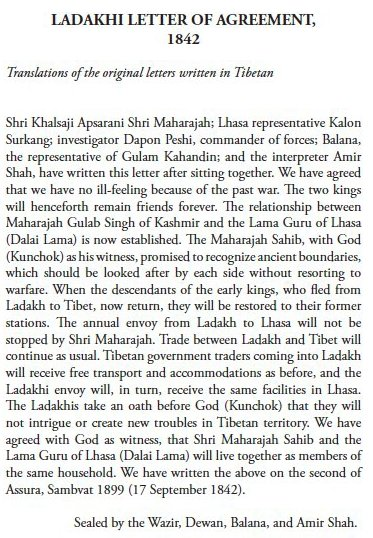 India Claims Over Kailash-Manasarovar And Parts of China-Occupied Tibet : Ladakhi Letter of Agreement 1942
