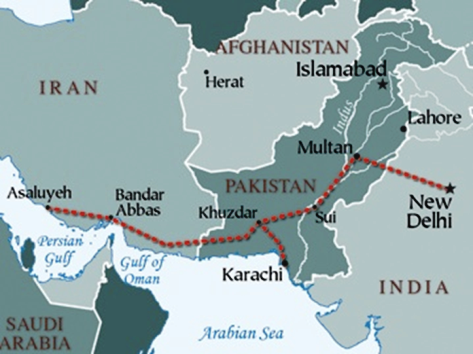 Map showing the Original route of the Iran Pakistan Gas Pipeline that was to extend to India