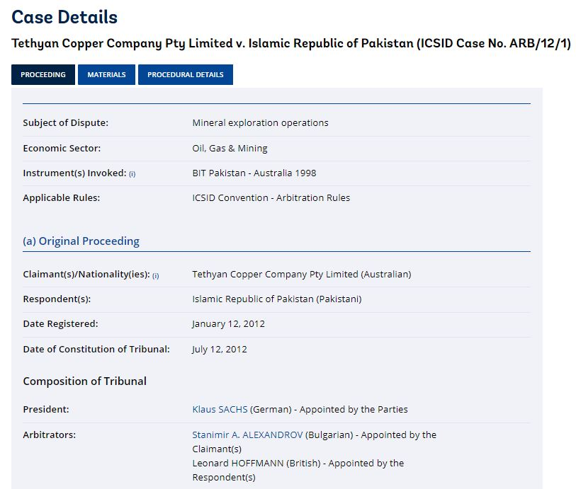 ICSID Terminates The Stay : Original Proceeding between Tethyan Copper Company Pty Limited and Islamic Republic of Pakistan