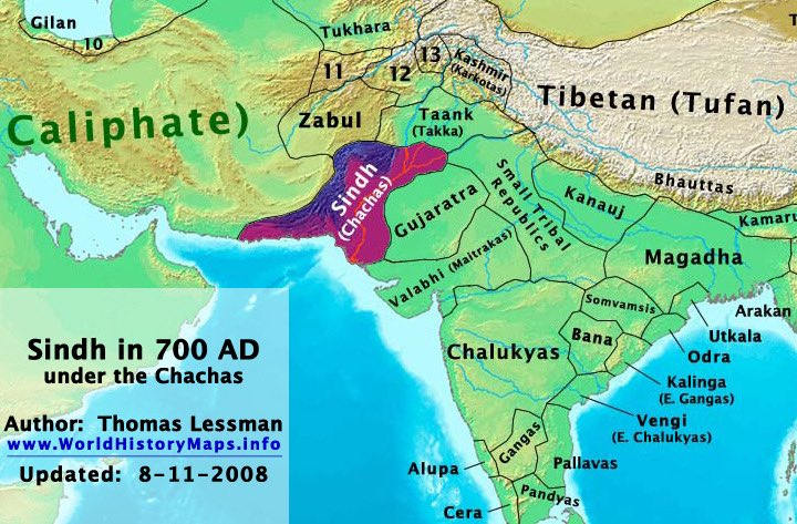 Pakistan is Killing Sindhi Hindus And Vandalizing Temples In Sindhudesh : Map of Sindh in 700 AD