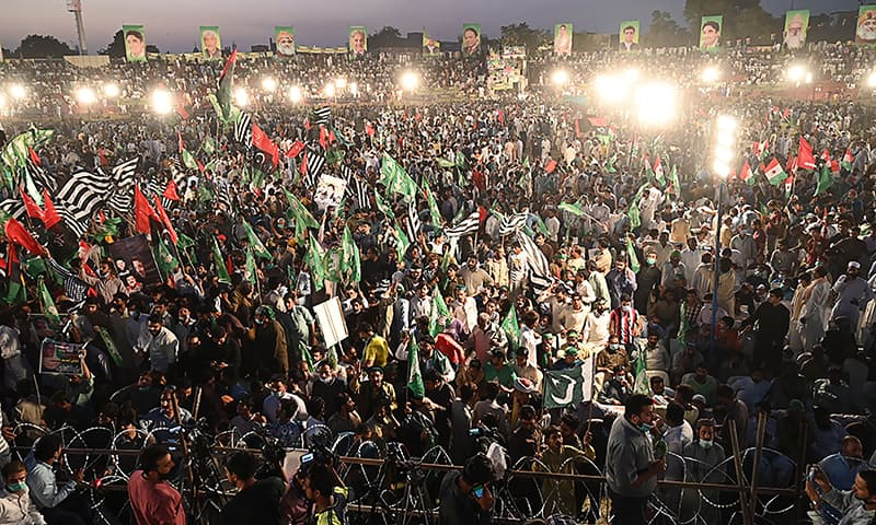 Pakistan A Disaster : Activists of the newly-formed Pakistan Democratic Movement (PDM), an opposition alliance of 11 parties, gather during the first public rally in the eastern city of Gujranwala on October 16, 2020. (Photo by Arif ALI / AFP)