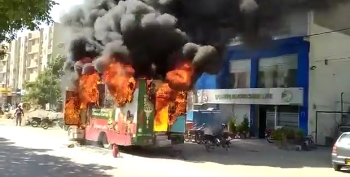 Pakistan A Disaster : Selani Welfare Trust's Van on Fire